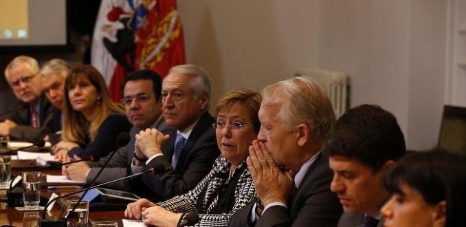Michelle Bachelet y gabinete