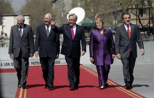 Presidente y ex Presidentes de Chile