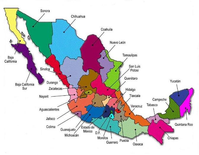 division politica mexico