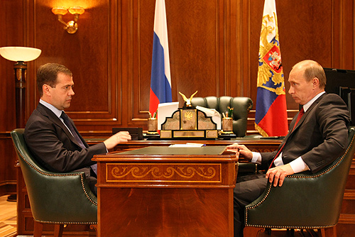 Dmitry Medvedev with Vladimir Putin
