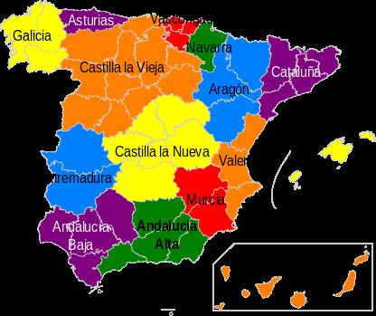Estados que habrían compuesto la nación española según el proyecto de Constitución Federal de 1873