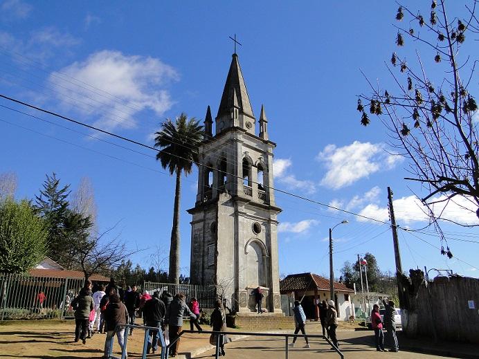 Torre Campanario y palma chilena Iglesia de Rere