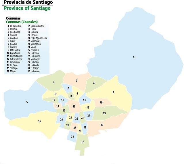 Mapa Provincia de Santiago