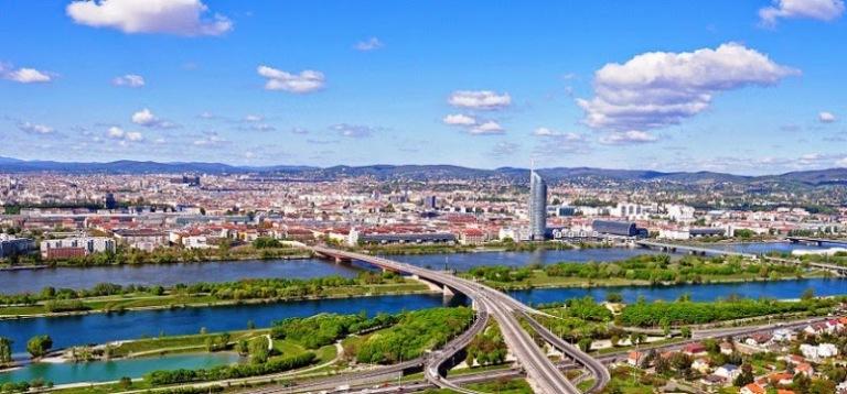 Panorámica de Viena y el Danubio